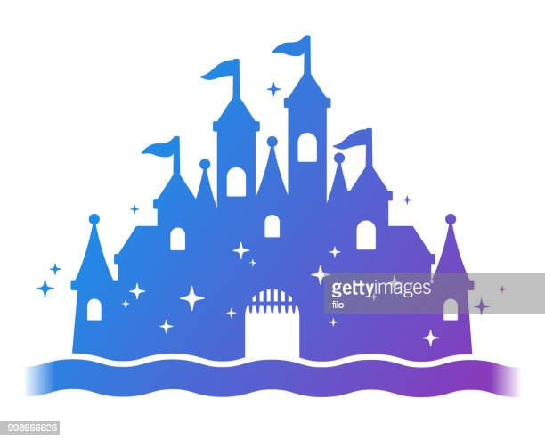 fantasy castle silhouette - castle stock illustrations