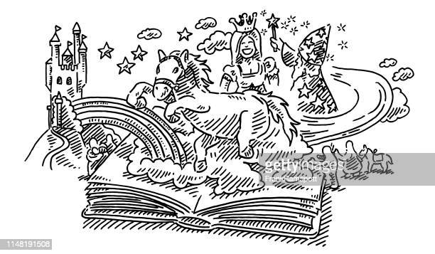 fantasy childhood fairy tale story book drawing - fairy tale stock illustrations