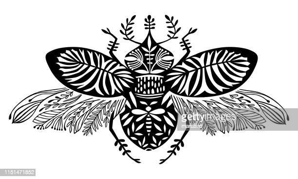 illustrazioni stock, clip art, cartoni animati e icone di tendenza di scarabeo creatura fantasy con ali decorative - coleottero