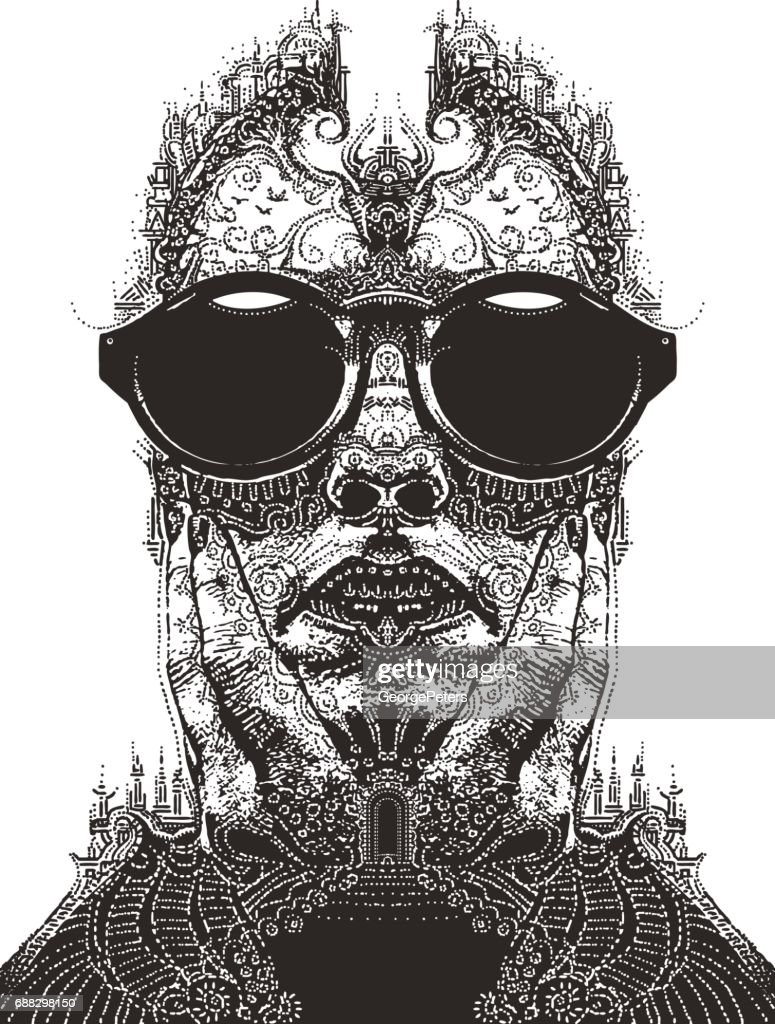 Fantasy doodle of head and landscape, architecture and nature : stock illustration