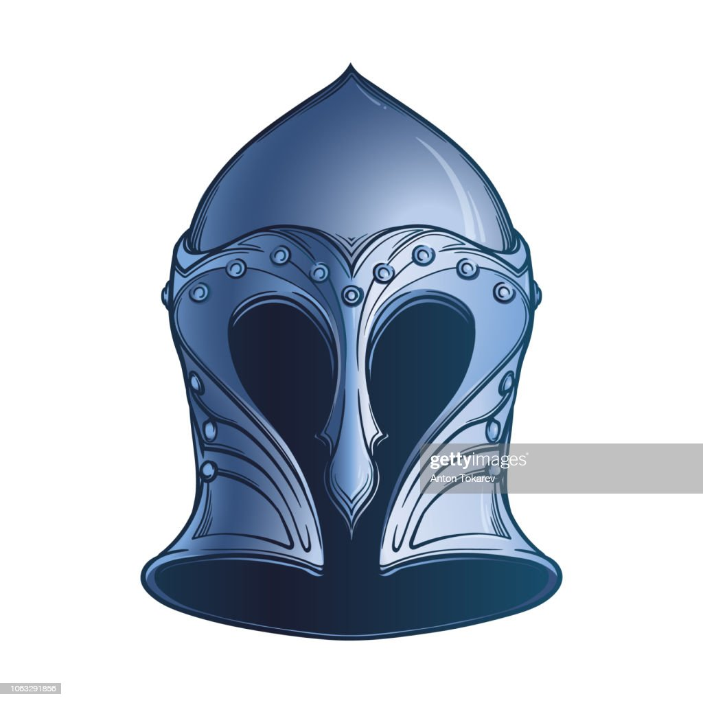 Fantasy Elven Helmet. Heraldry element. Black a nd white drawing isolated on white background
