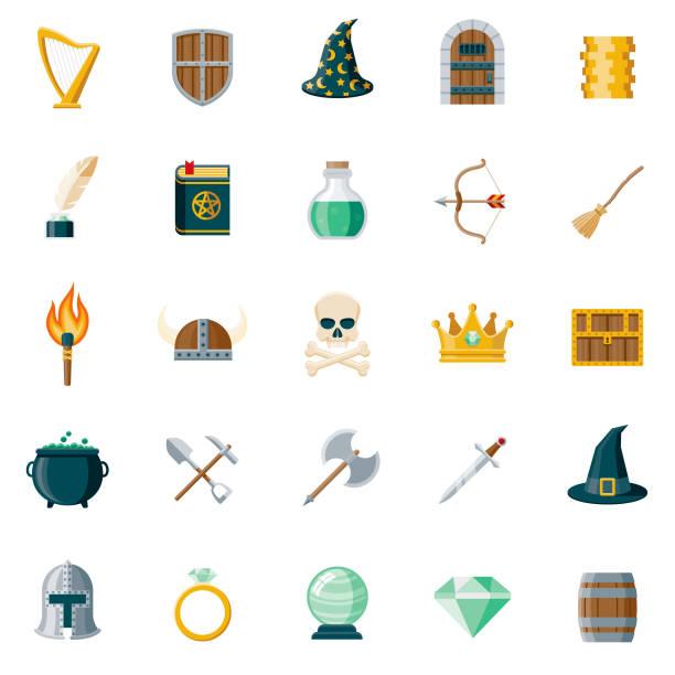 fantasy flat design icon set - fantasy stock illustrations