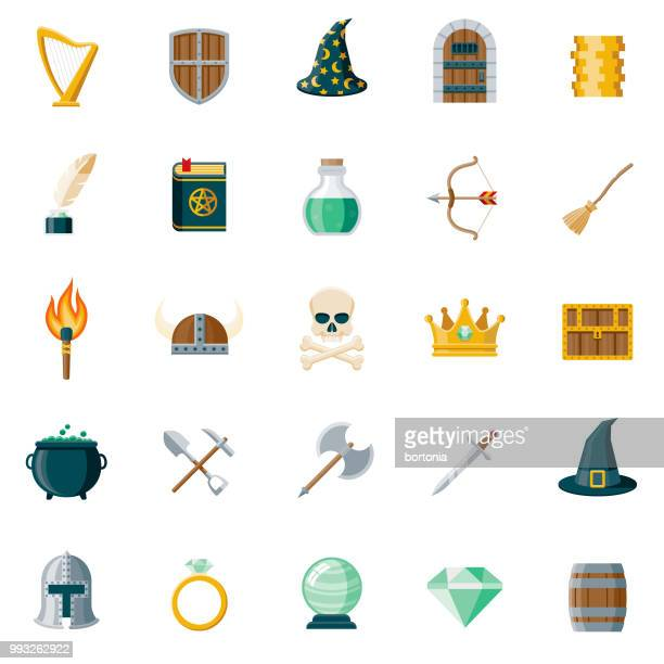 fantasy flat design icon set - traditional clothing stock illustrations