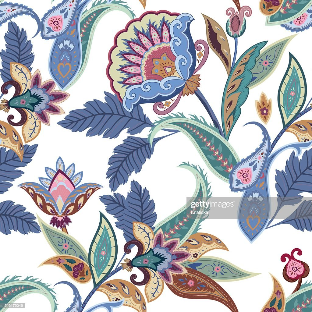 Fantasy flowers seamless paisley pattern