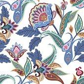 Fantasy flowers seamless paisley pattern