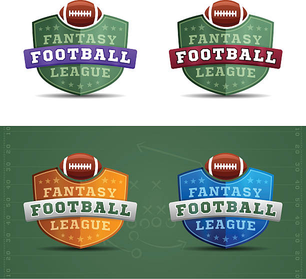 fantasy football league badges - fantasy stock illustrations