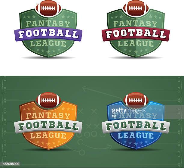 fantasy football league badges - fantasy stock illustrations