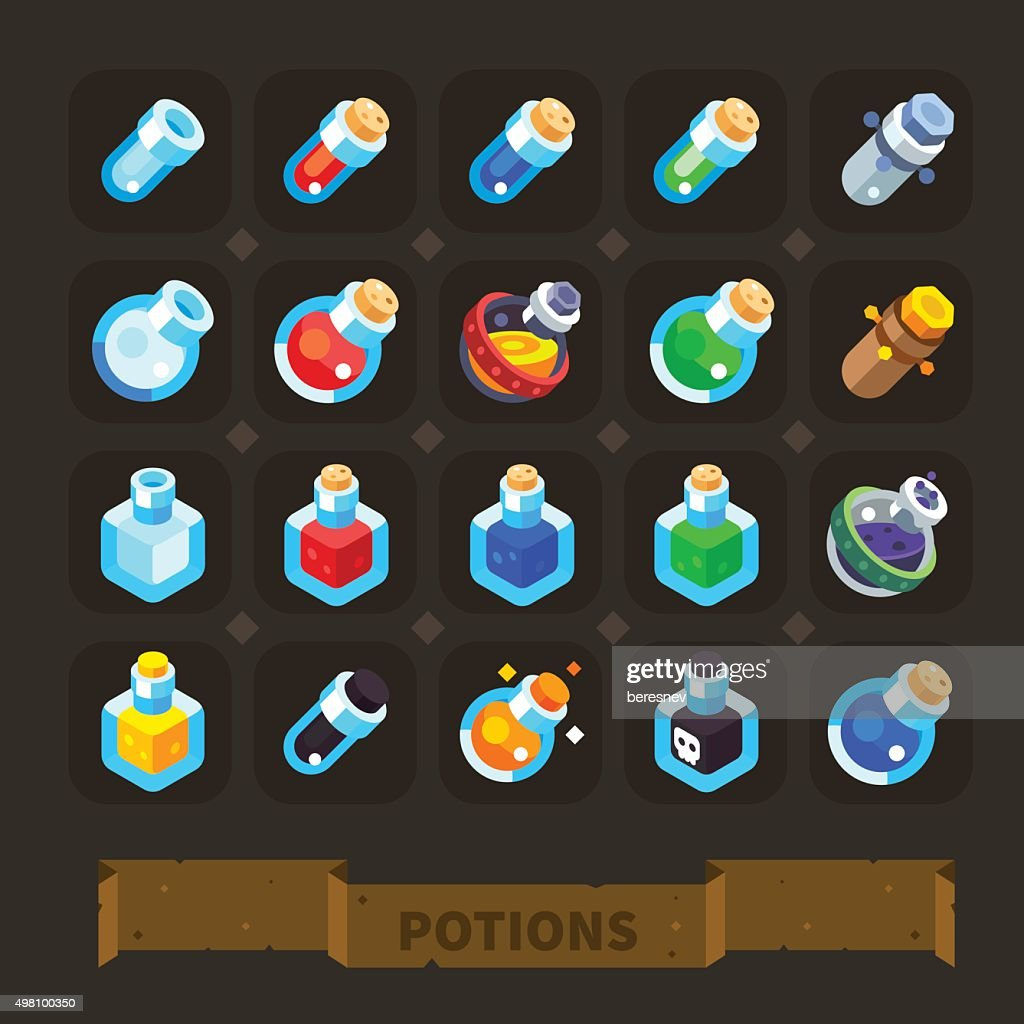 Fantasy game icons set: different potions.