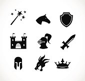 Fantasy icon set vector illustration