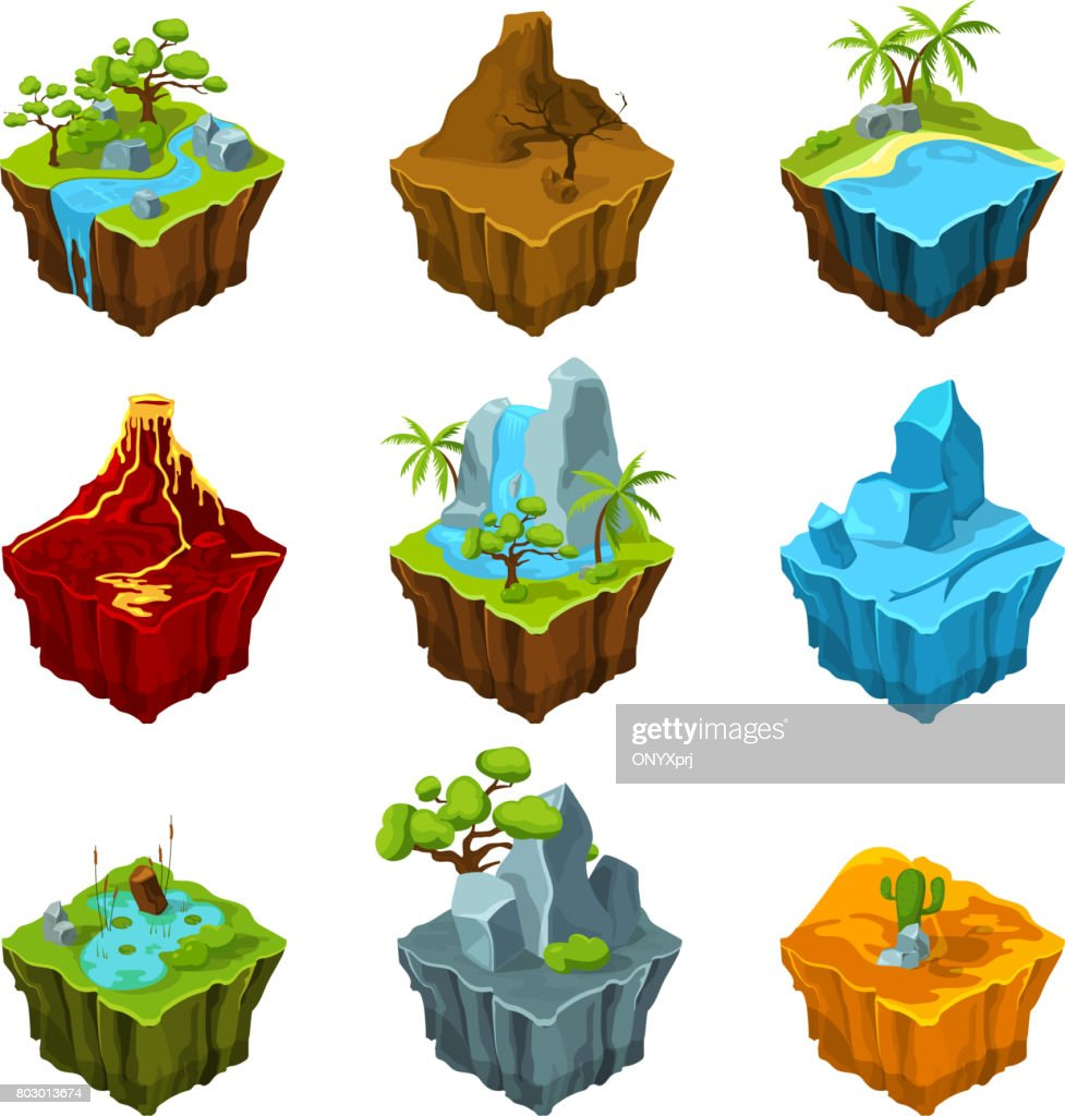 Fantasy isometric islands with vulcans, different plants and rivers. Interface elements in cartoon style. Vector pictures for computer games