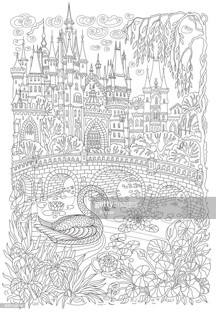 Kleurplaten Voor Volwassenen Fantasie.Fantasie Landschap Sprookje Kasteel Fantastische Water Plant