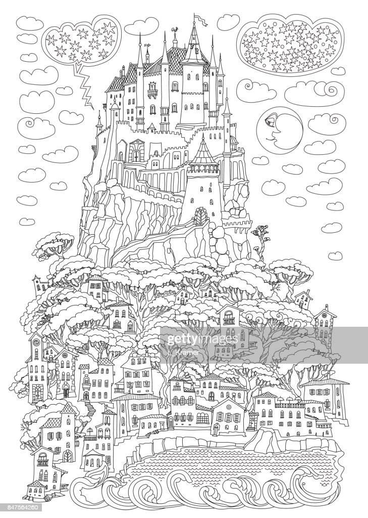 Kleurplaten Voor Volwassenen Landschap.Fantasie Landschap Sprookje Kasteel Op Een Heuvel Fantastische Berg