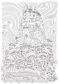 Fantasy landscape. Fairy tale castle on a hill. Fantastic mountain, pine tree, garden, sea wave. Fireworks, stars and comets in the sky. T-shirt print. Album cover.Coloring book page for adults. Black and white