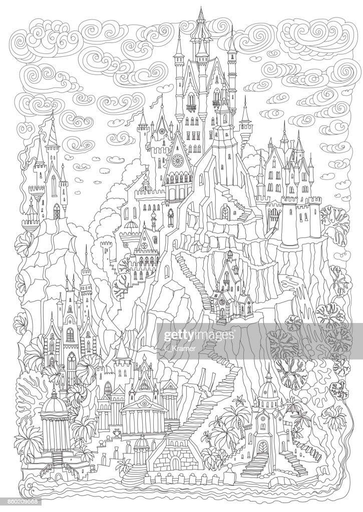 Kleurplaten Voor Volwassenen Landschap.Fantasie Landschap Sprookje Kasteel Op Een Heuvel Fantastic Montage