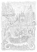 Fantasy landscape. Fairy tale castle on a hill in the mountains . stone staircase,grotto, pixie forest, garden roses, lilies. T-shirt print. Album cover. Coloring book page for adults. Black White