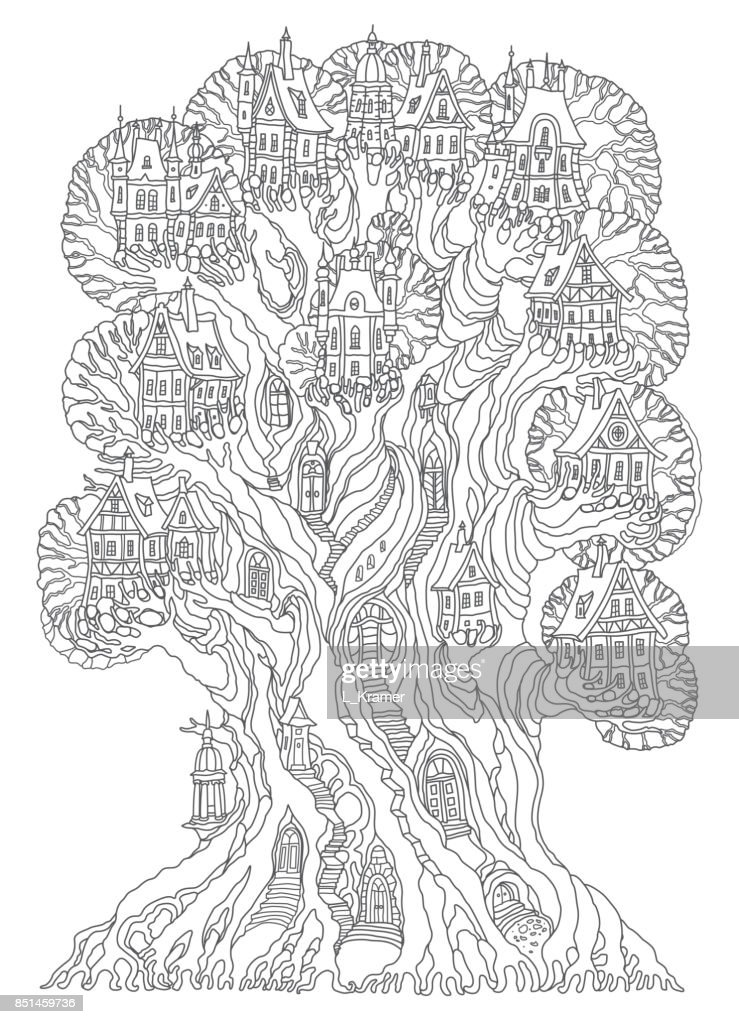 Fantasy landscape. Fairy tale oak tree with castle, old medieval town, half-timbered house. Hand drawn sketch, cottage silhouette. T-shirt print. Album cover. Coloring book page for adults. Black and white doodle