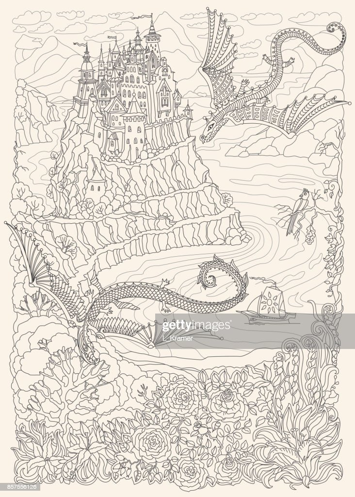 Fantasy landscape on a beige background. Fairy tale flying dragons and castle on a hill in the mountains .Sea fjord bay, pixie forest, garden roses, lilies. T-shirt print. Adults and children Coloring book page. Black and White