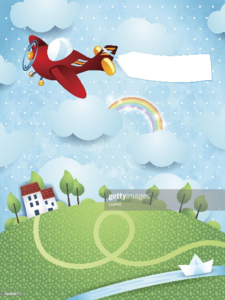 Fantasy landscape with airplane, banner and river