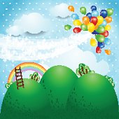 Fantasy landscape with balloons