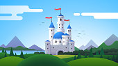 Fantasy landscape with beautiful castle, mountains, forest, meadow & hills. Fantasy medieval castle with towers & flags scenery. Kingdom, fairytale & architecture. Flat vector illustration