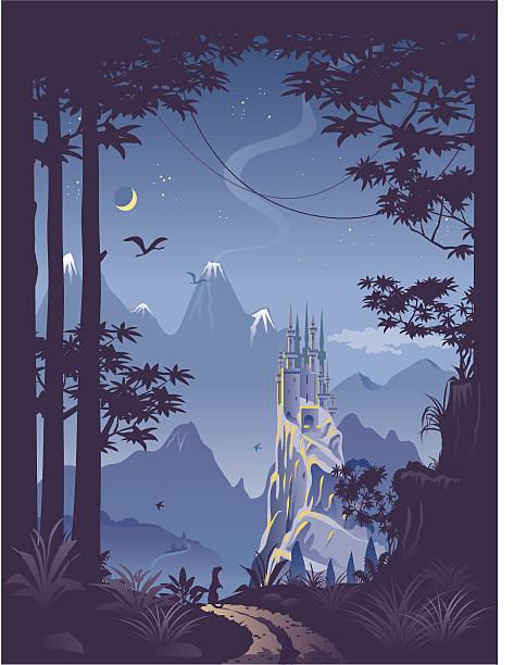 fantasy landscape with castle on hill - fantasy stock illustrations