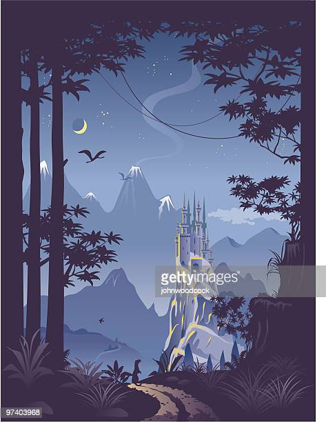 fantasy landscape with castle on hill - castle stock illustrations