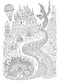 Fantasy landscape with dragon. Fairy tale medieval castle on a hill. Round old  street. T-shirt print. Album cover, invitation card. Coloring book page for adults and children. Black and white vertical page