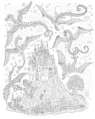 Fantasy landscape with flying dragons in the sky. Fairy tale medieval castle on a hill, old houses. T-shirt print. Album cover, card. Coloring book page for adults and children. Black and white