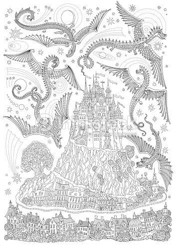 fantasielandschaft mit fliegenden drachen in den himmel