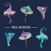 Fantasy magic mushrooms set on dark background