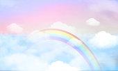 fantasy magical landscape rainbow on sky