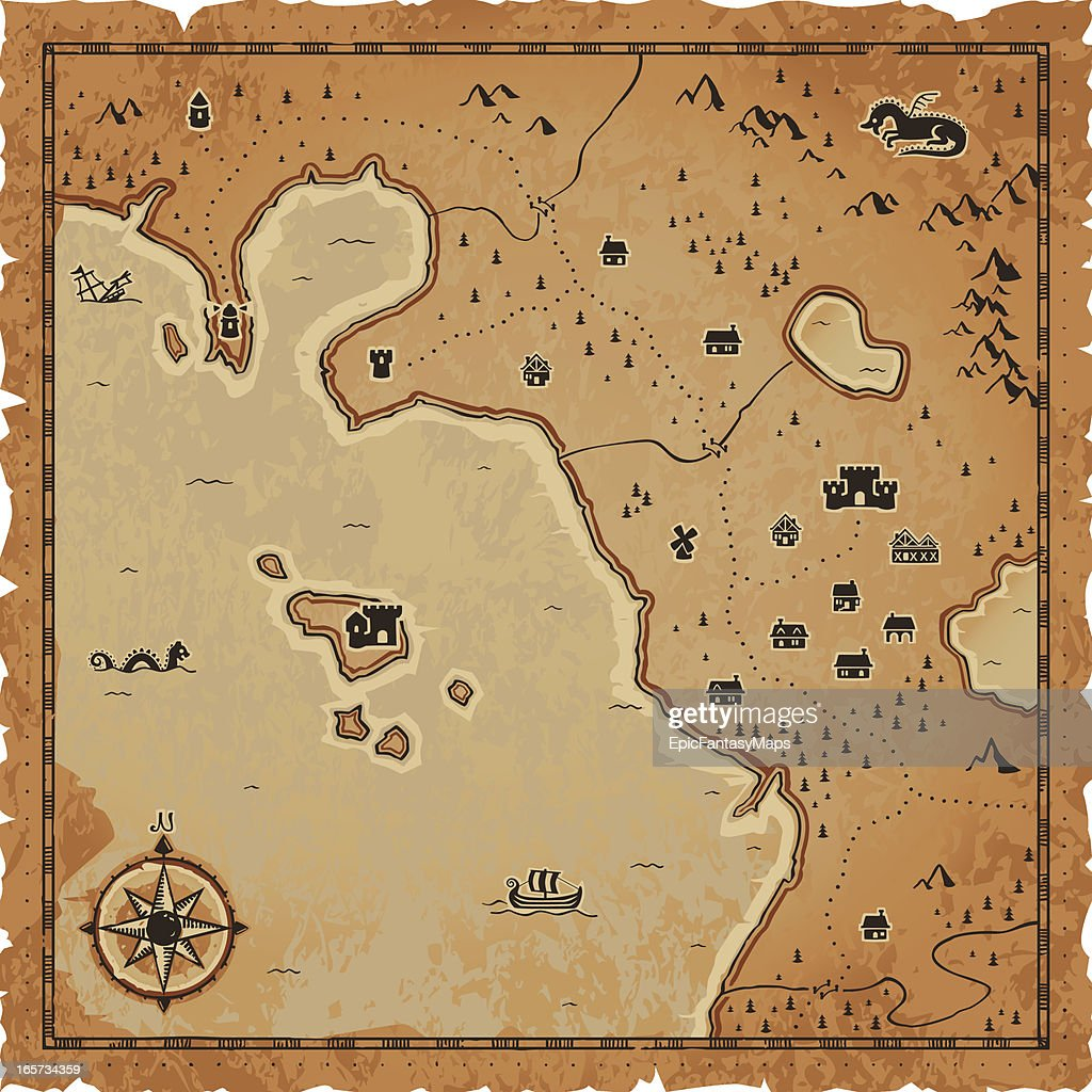 Fantasy Map : stock illustration