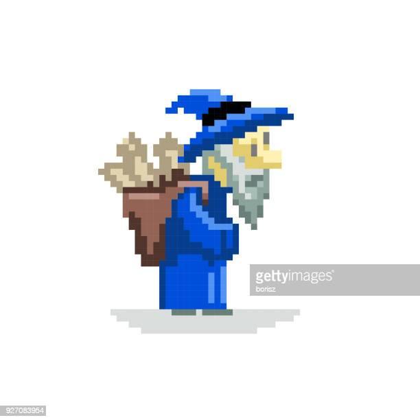 fantasy pixel art - wizard stock illustrations