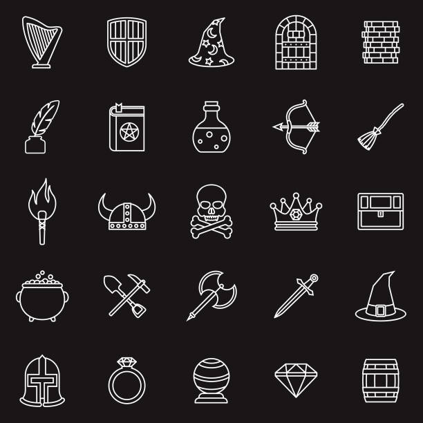 fantasy role playing games thin line outline icon set - fantasy stock illustrations
