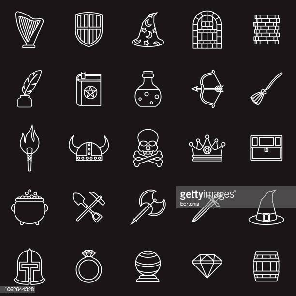 fantasy role playing games thin line outline icon set - dressing up stock illustrations