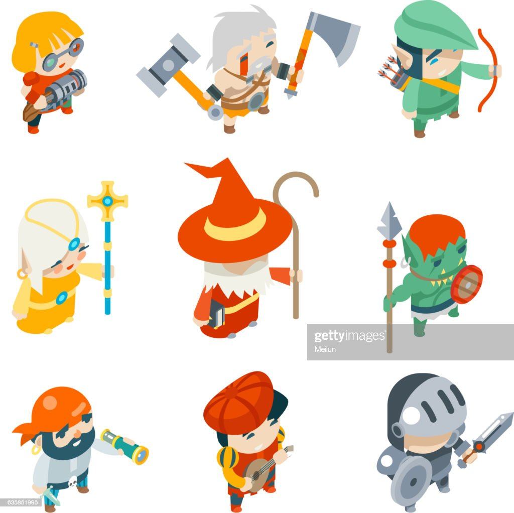 Fantasy RPG Game Characters Isometric Vector Icons Set  Illustration