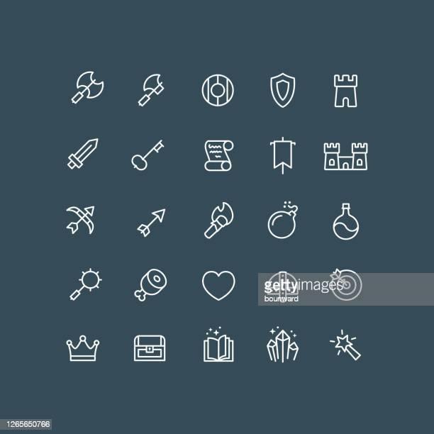 fantasy rpg icons outline editable stroke - weapon stock illustrations