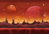 Fantasy Sci-fi Martian Background For Ui Game