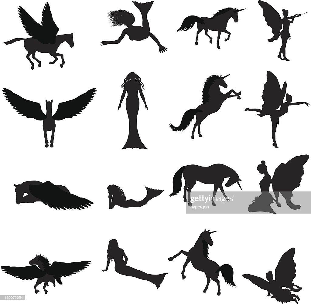 Fantasy Silhouette Collection (vector+jpg) : stock illustration