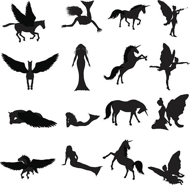 fantasy silhouette collection (vector+jpg) - unicorn stock illustrations