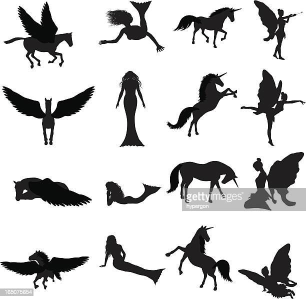 fantasy silhouette collection (vector+jpg) - pegasus stock illustrations, clip art, cartoons, & icons