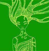 Fantasy silhouette woman fairy.