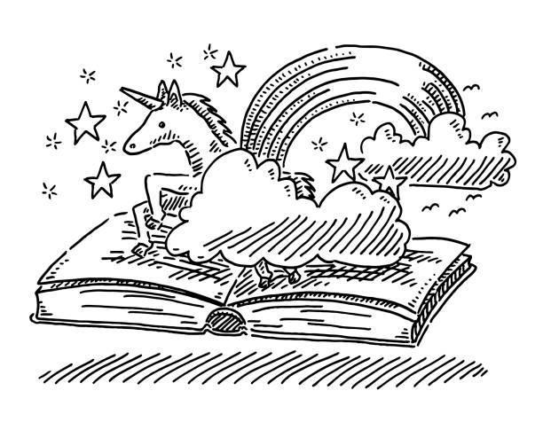 fantasy story book concept unicorn drawing - unicorn stock illustrations