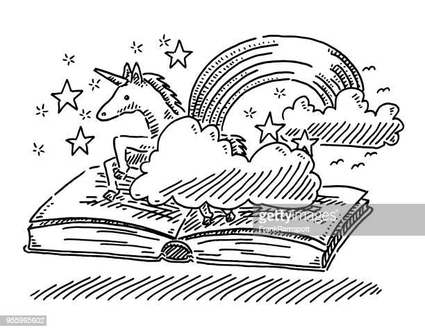 fantasy story book concept unicorn drawing - unicorn stock illustrations