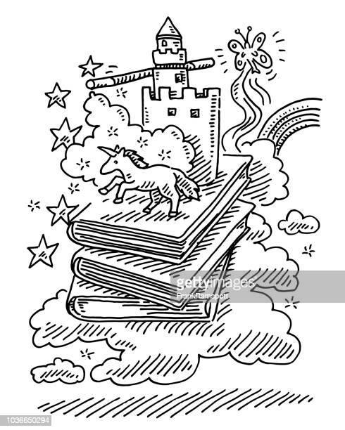 fantasy-geschichte bücher einhorn märchen zeichnung - fantasiewelt stock-grafiken, -clipart, -cartoons und -symbole