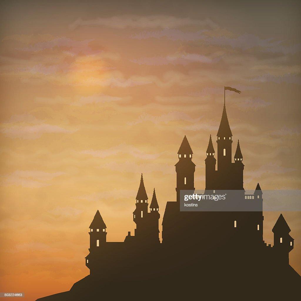 Fantasy Vector Castle Moonlight Sky