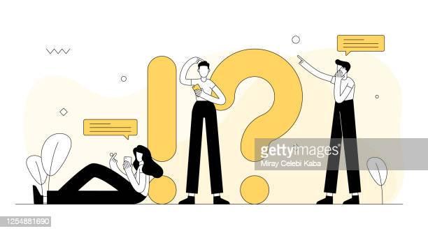 ilustrações, clipart, desenhos animados e ícones de ilustração vetorial relacionada à faq. design moderno plano - q and a