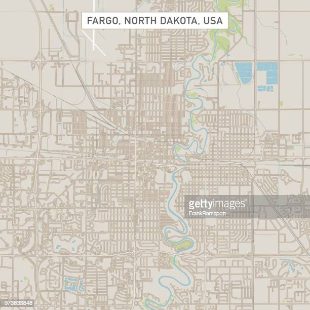 fargo north dakota us city street map - north dakota stock illustrations