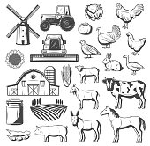 Farm, agriculture and cattle vector