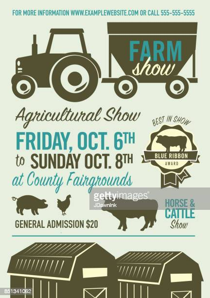 farm and agricultural show poster design template - livestock show stock illustrations